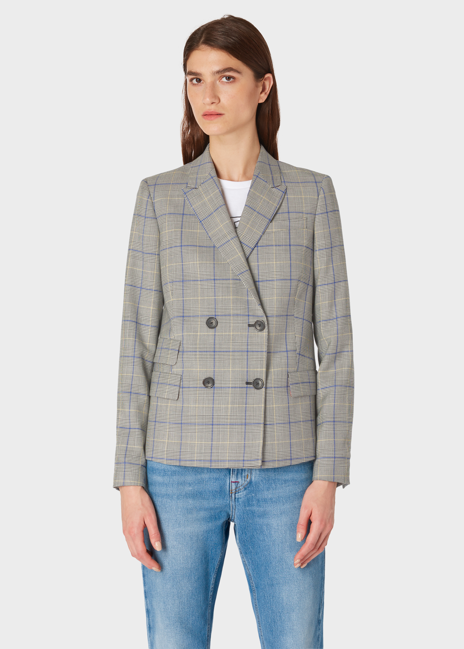 6c8ab9ca Women's Grey Check Wool Double-Breasted Blazer
