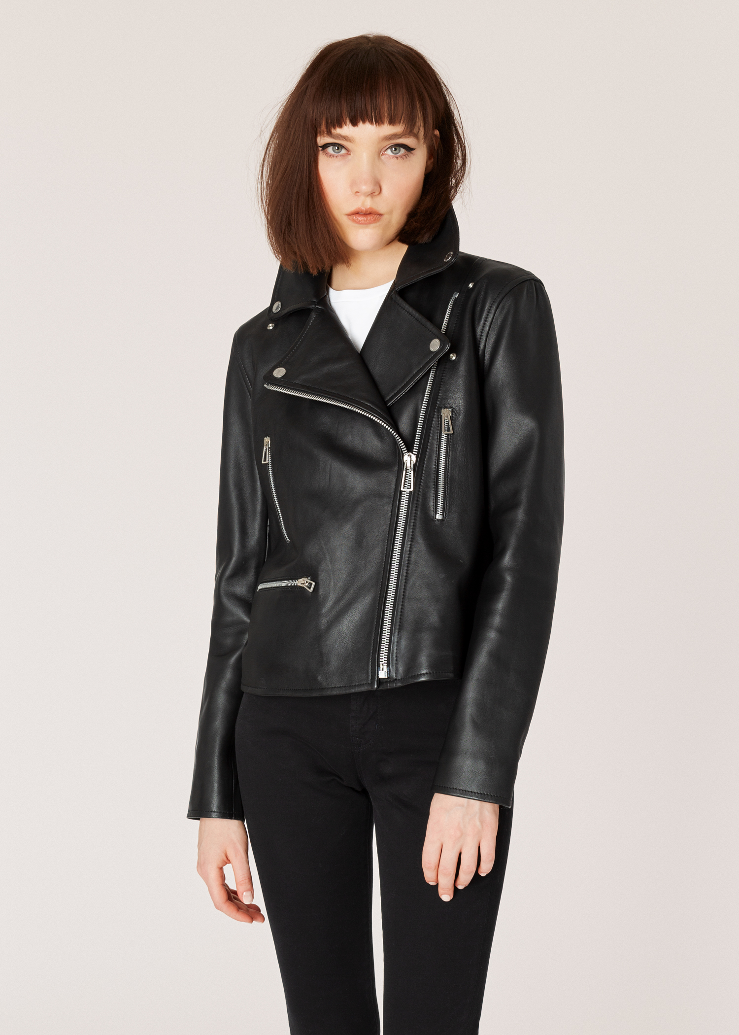 04c5af8dc Women's Black Leather Biker Jacket With Zip Pockets