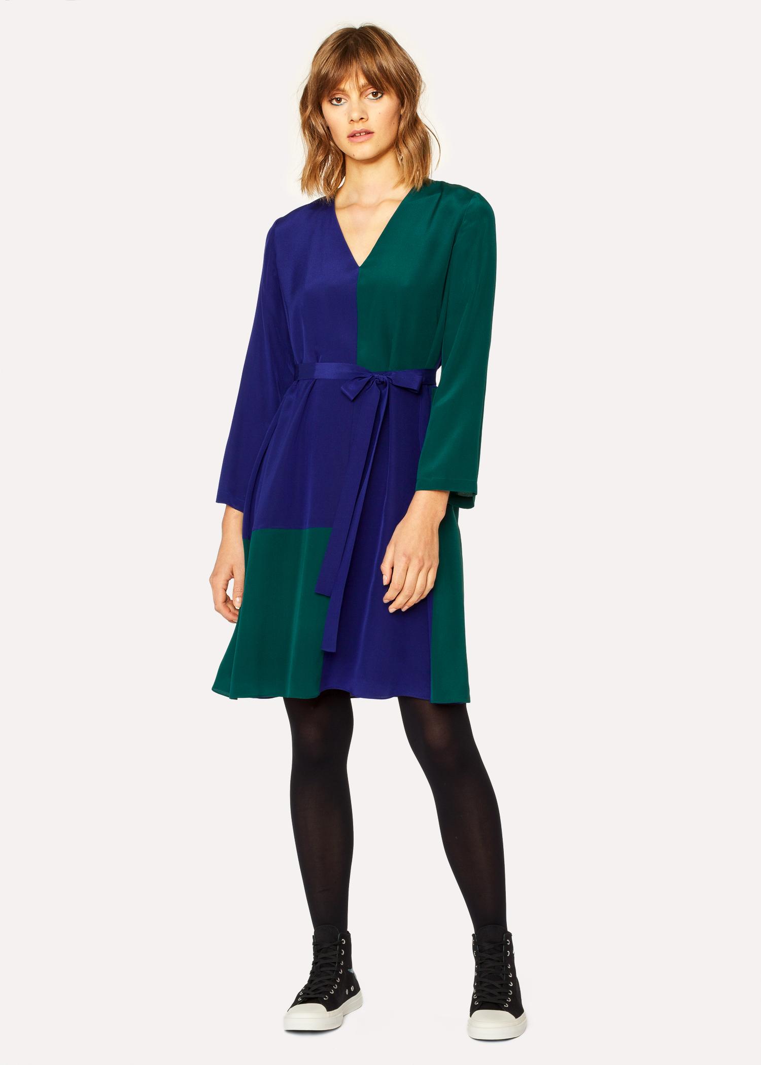 Women S V Neck Cobalt Blue And Green Colour Block Dress Paul Smith