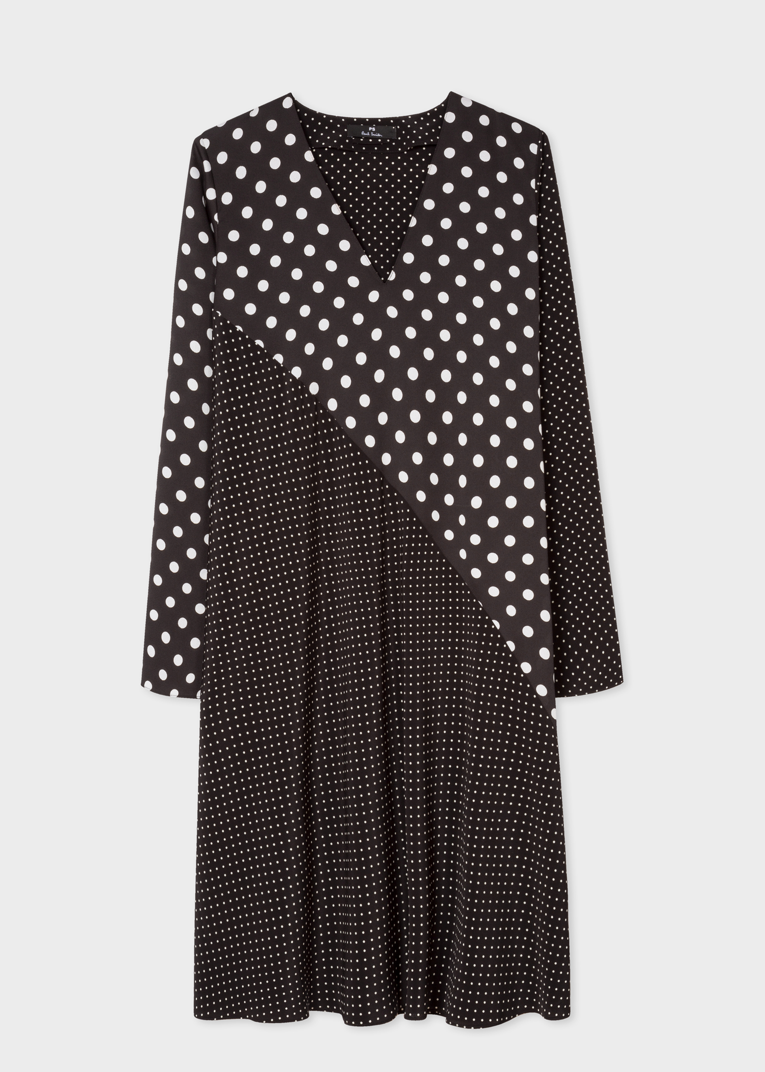 Front view without belt - Women s Black And White Polka Dot V-Neck Shirt  Dress. PS PAUL SMITH a4128c569