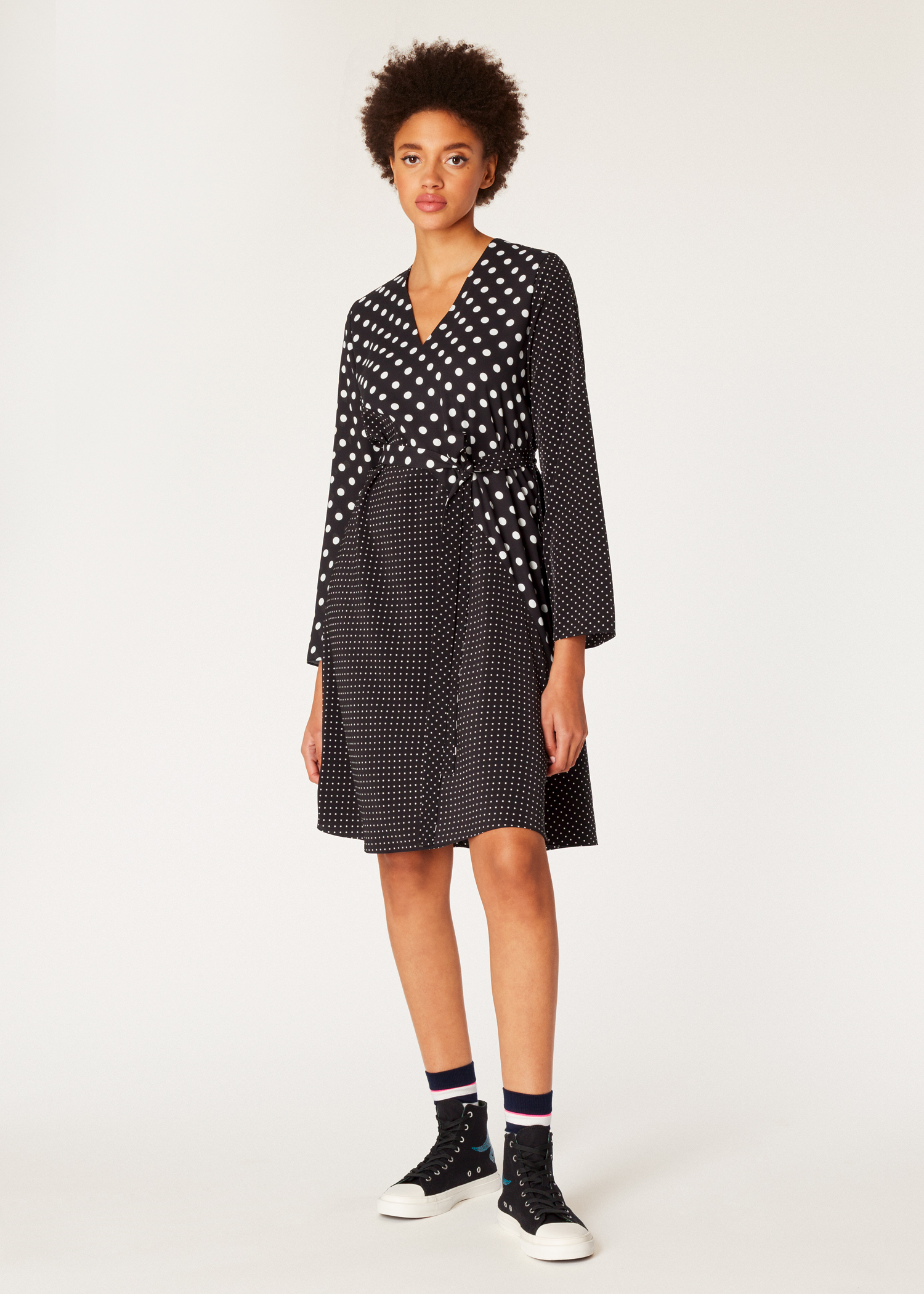5c7efeea9 Model front view - Women s Black And White Polka Dot V-Neck Shirt Dress Paul