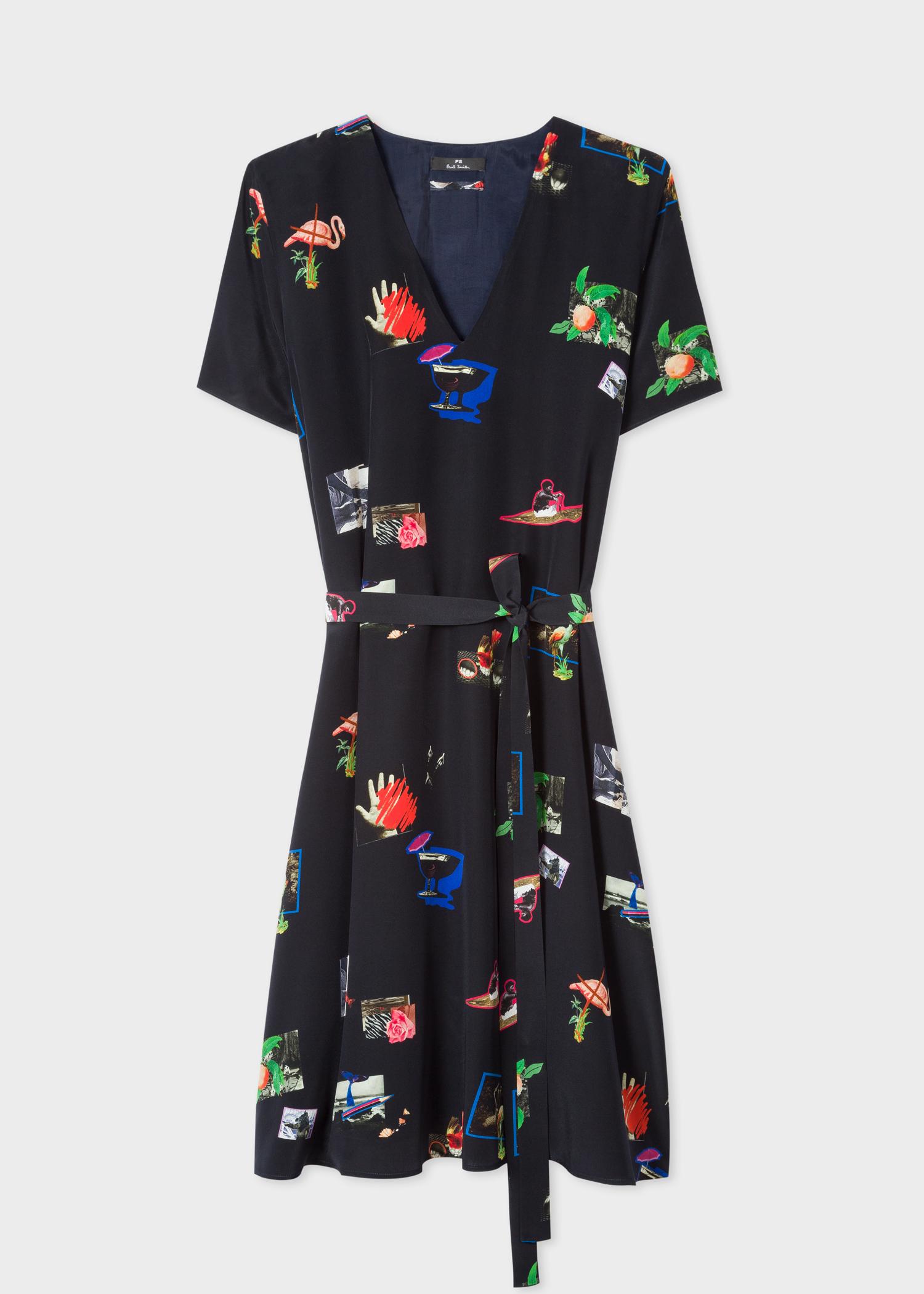 43efb757d3 Women s Dark Navy  Paul s Scrapbook  Print V-Neck Silk Dress - Paul ...