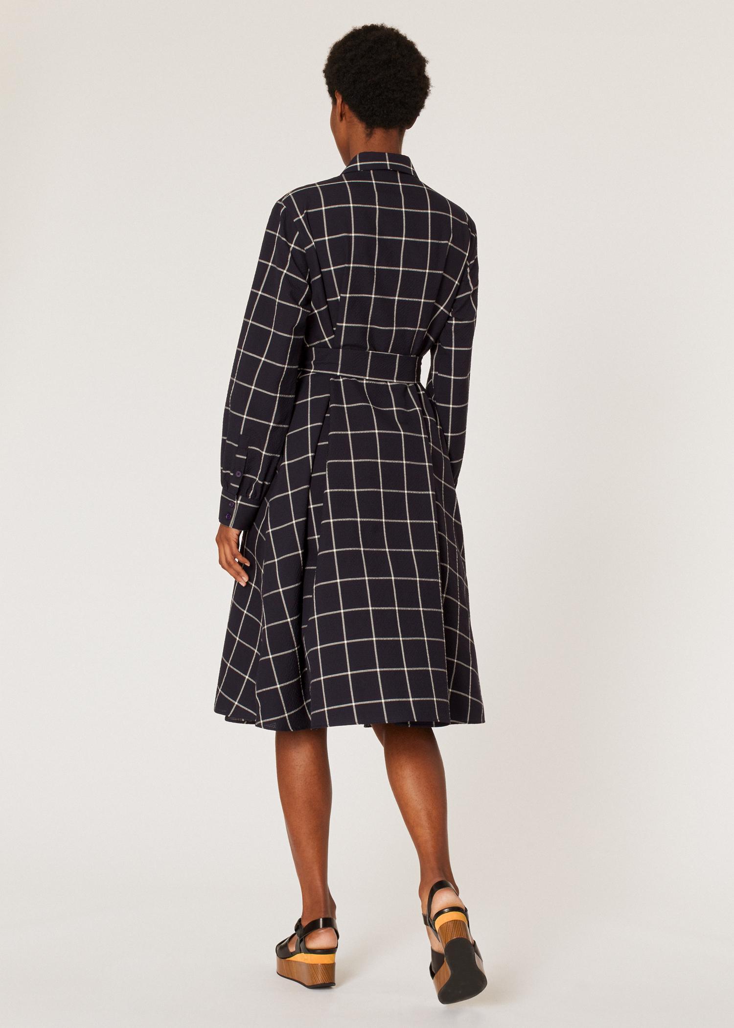 bbca088c Model back view - Women's Navy Windowpane Check Seersucker Shirt Dress Paul  Smith