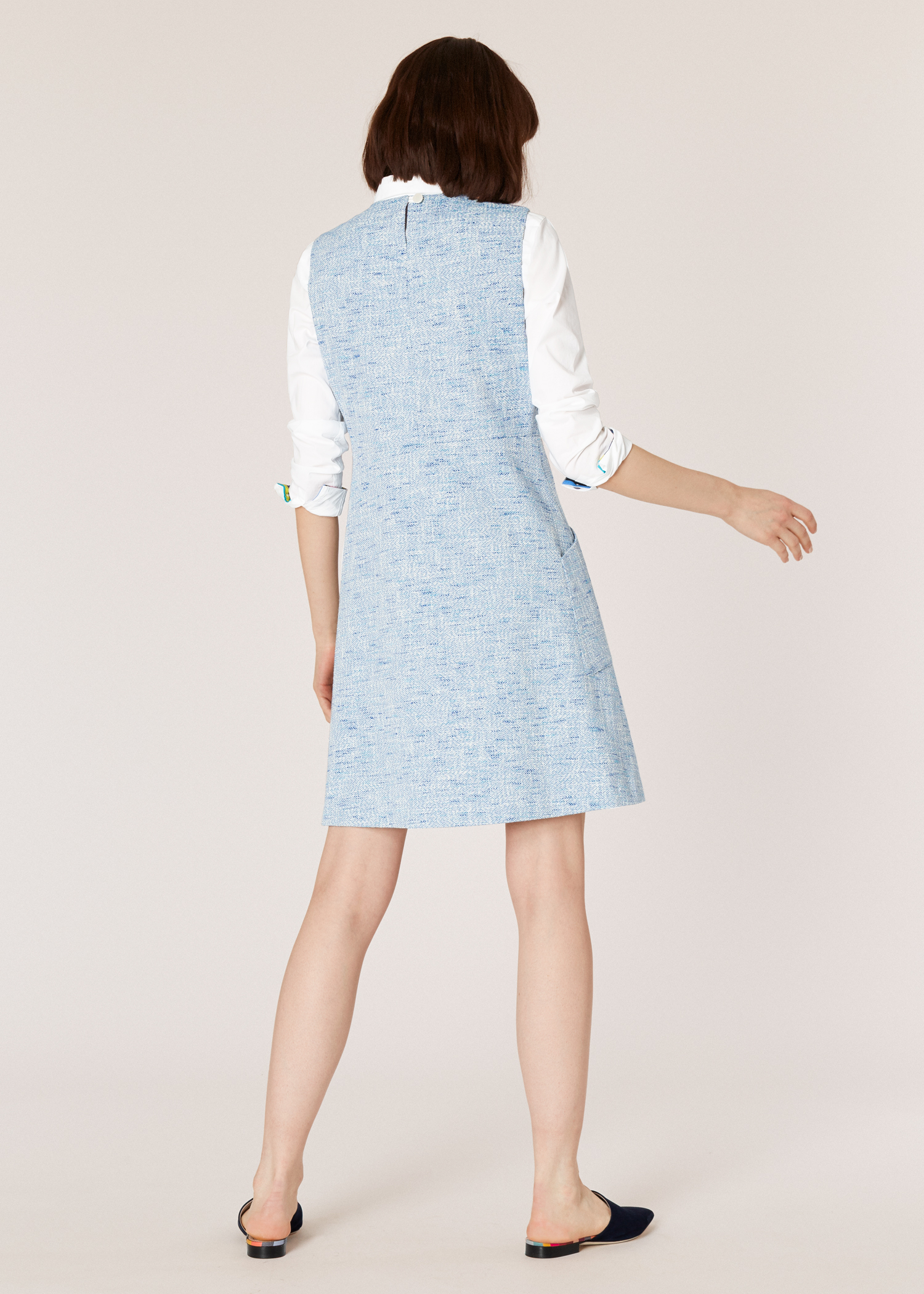 c84b7f251fd Model Back View Women S Light Blue Tweed Sleeveless Shift Dress Paul Smith
