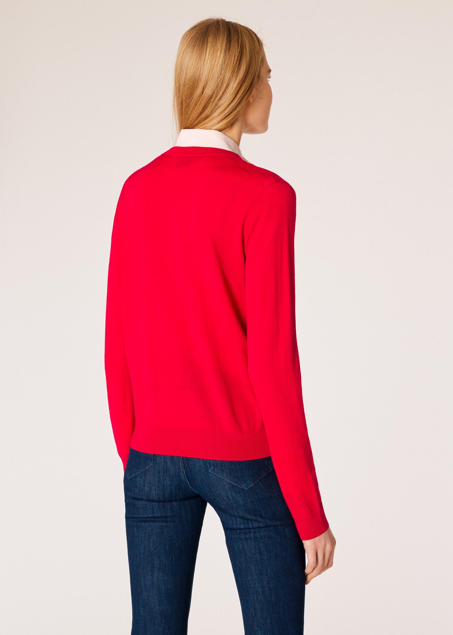 Vue mannequin dos zoom - Pull Femme Rouge Col V Contrastant En Laine Paul  Smith dba7e68b3e8