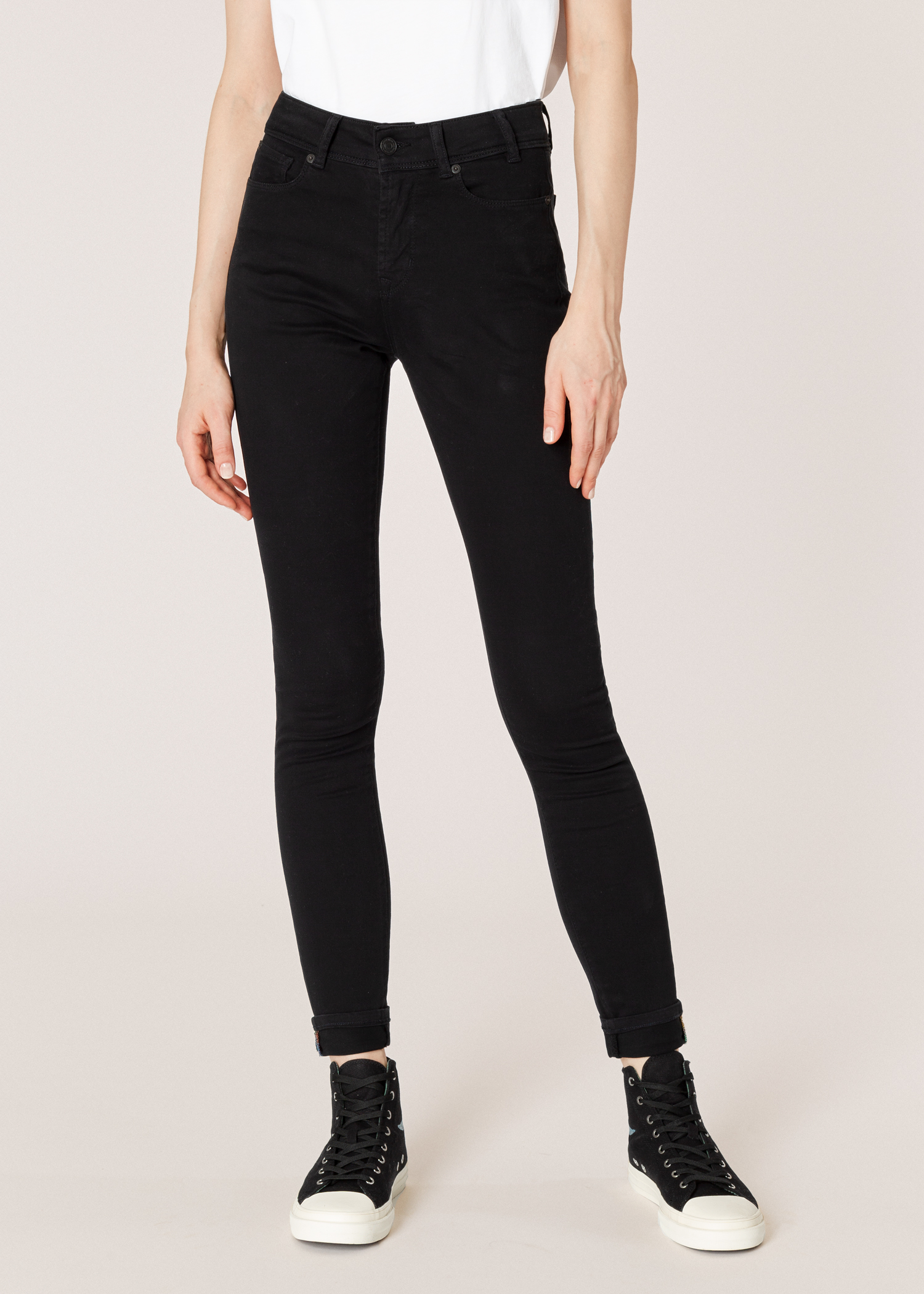 c994970f2f Model front close up- Women's Black Skinny-Fit Jeans by Paul Smith