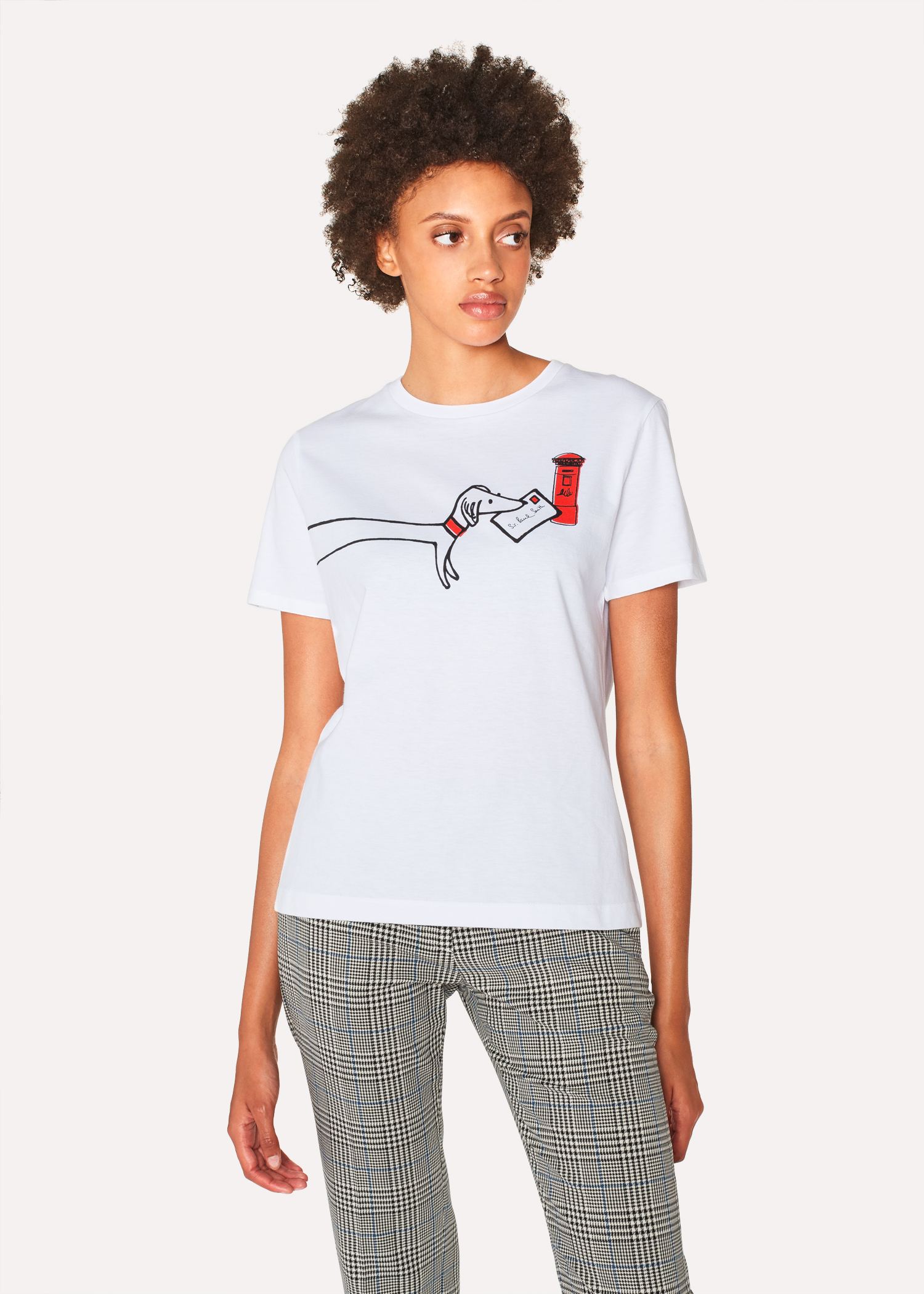 Womens White Pauls Letter Print T Shirt Paul Smith Us
