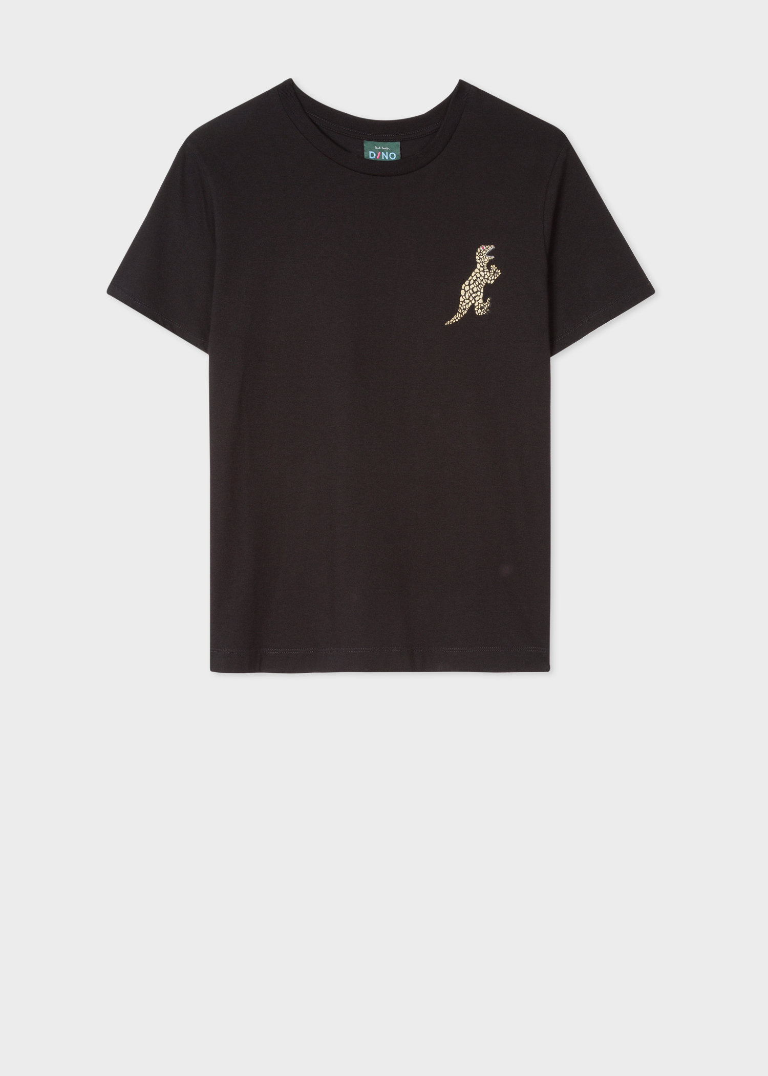 dd648c738 Front view - Women's Black Small Gold 'Dino' Print Cotton T-Shirt Paul