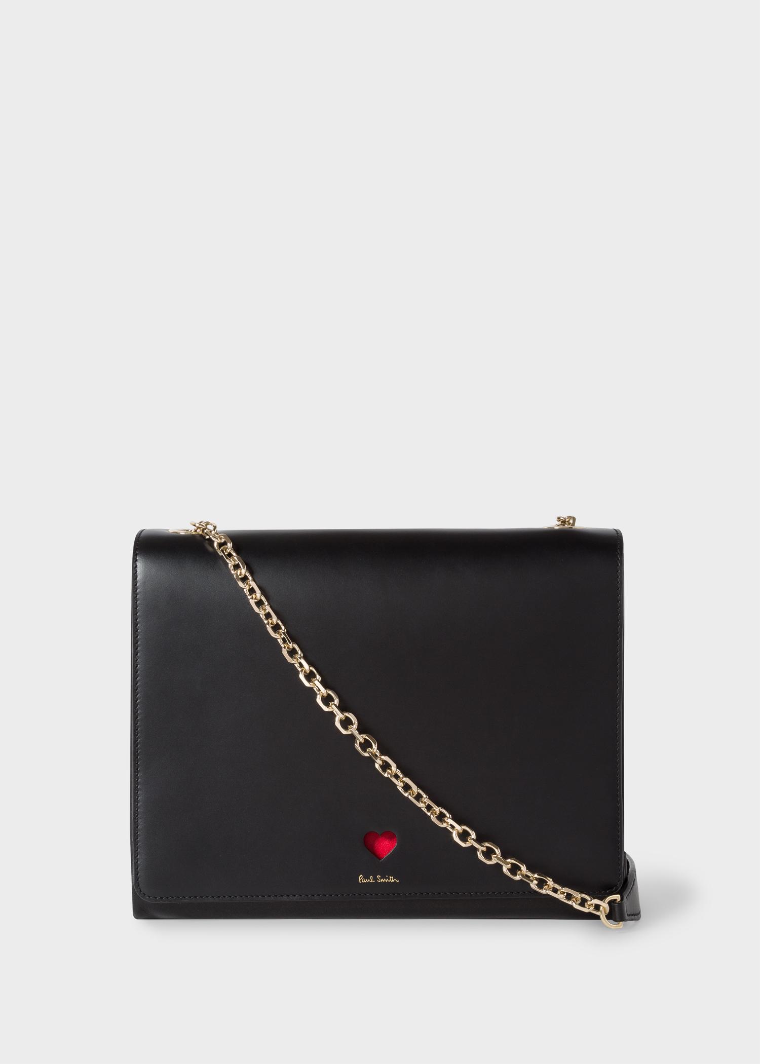 Paul Smith Women S Black Heart Leather Flap Handbag