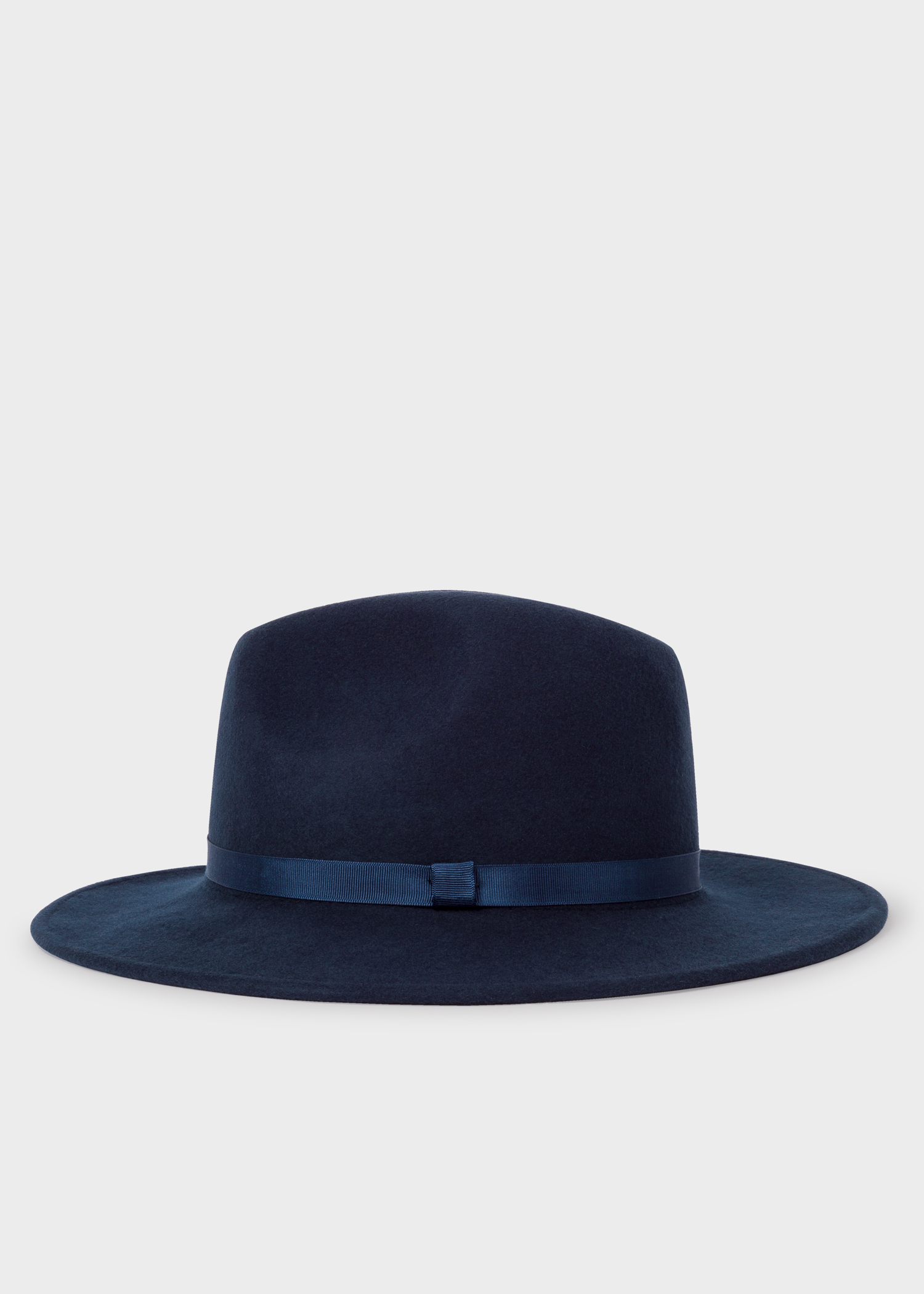 077eb922402452 Front View - Women's Navy Wool Felt Fedora Hat Paul Smith