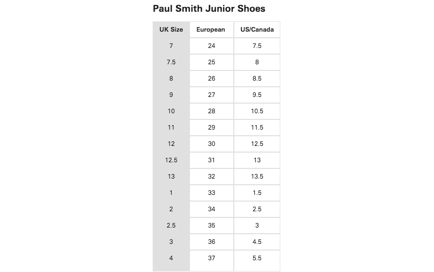 205504dd6f30c7 Clothing Size Guides   Charts - Paul Smith