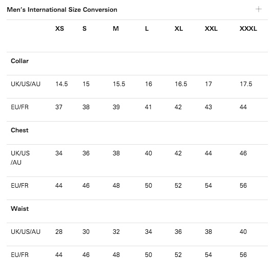 Paul smith size guides for Mens dress shirt sizes conversion