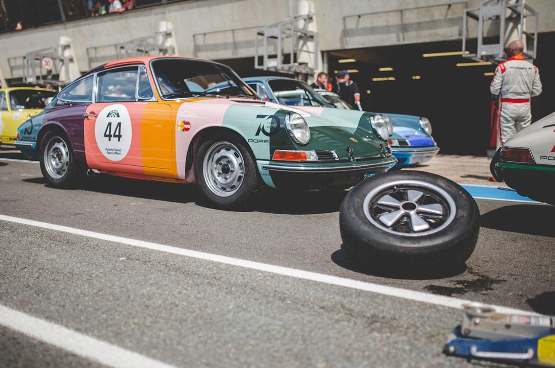 Artist Stripe Porsche Races at Le Mans Classic